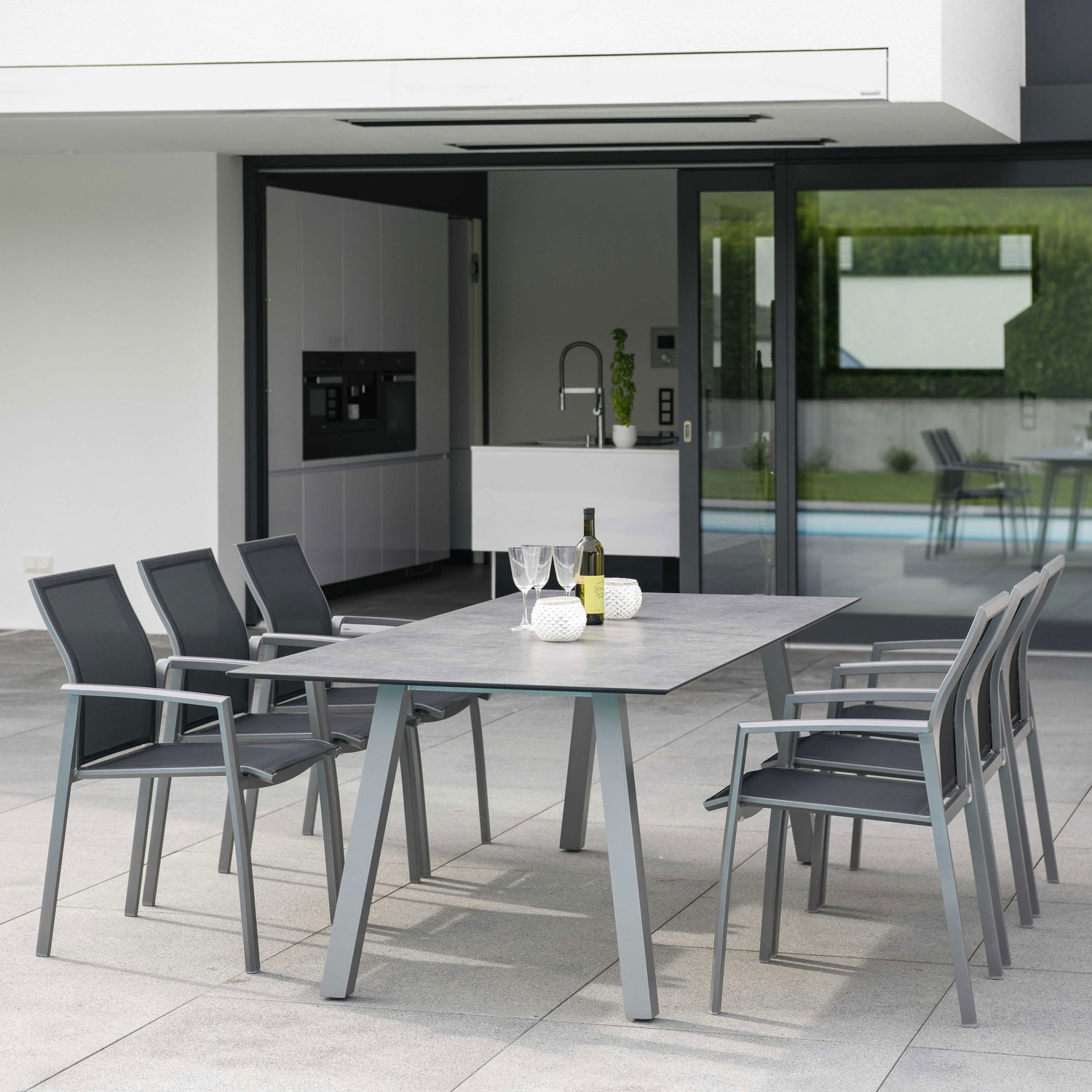 Interno Outdoor Table 220X100cm Square Tube Aluminum Graphite Table Top Silverstar Vintage Stone by Outdoor Living