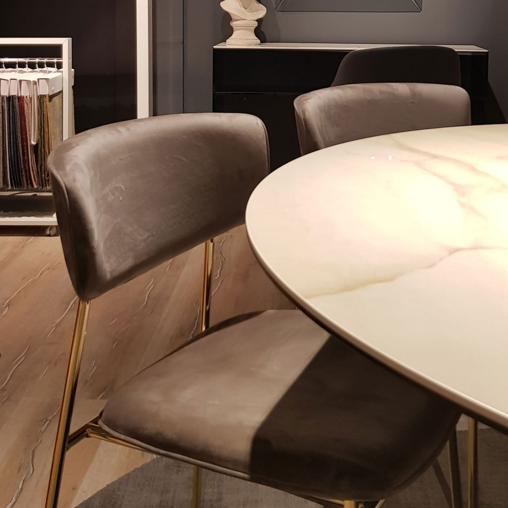 Upholstered Dining Chairs on Display by FCI London