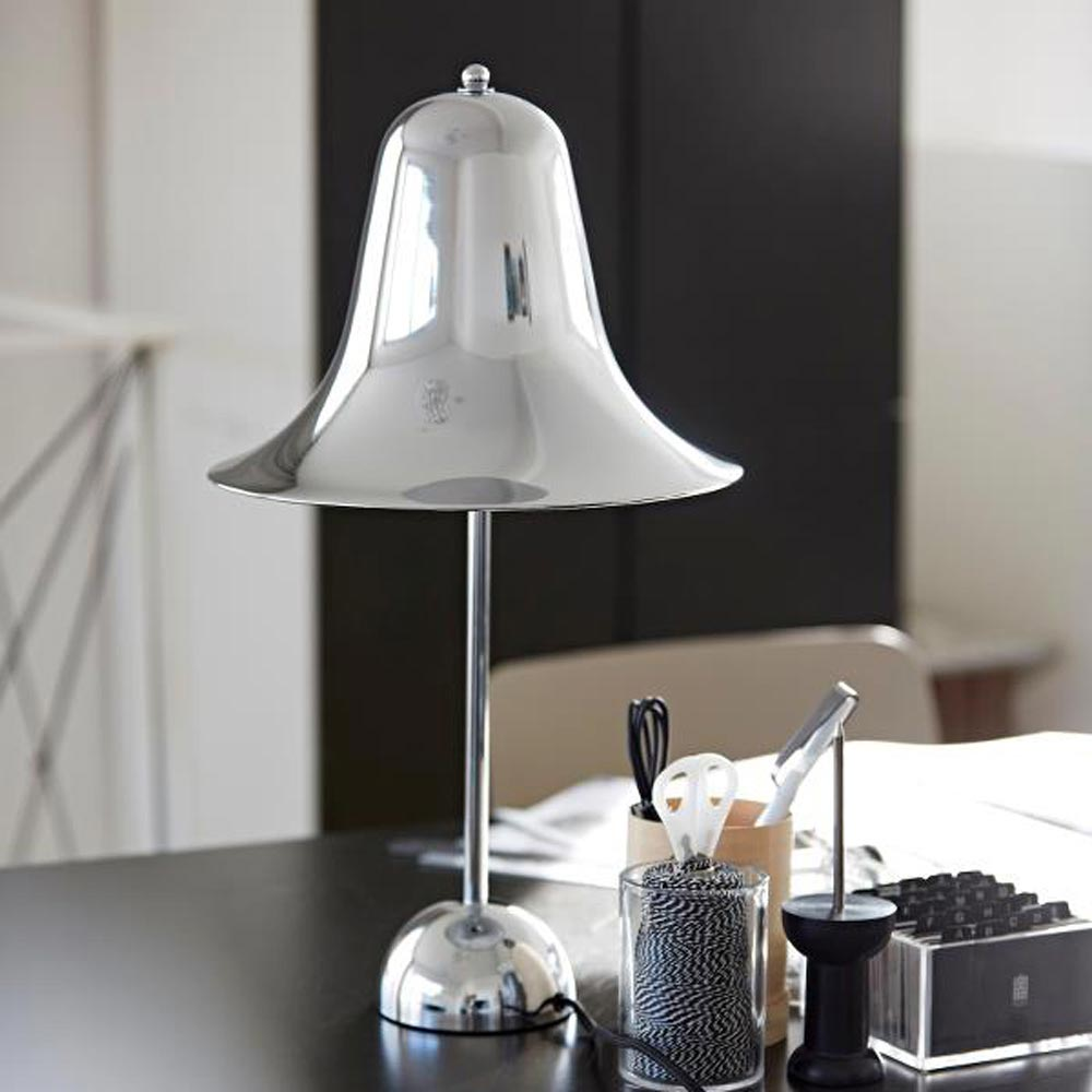 Pantop Chrome Table Lamp by Verpan