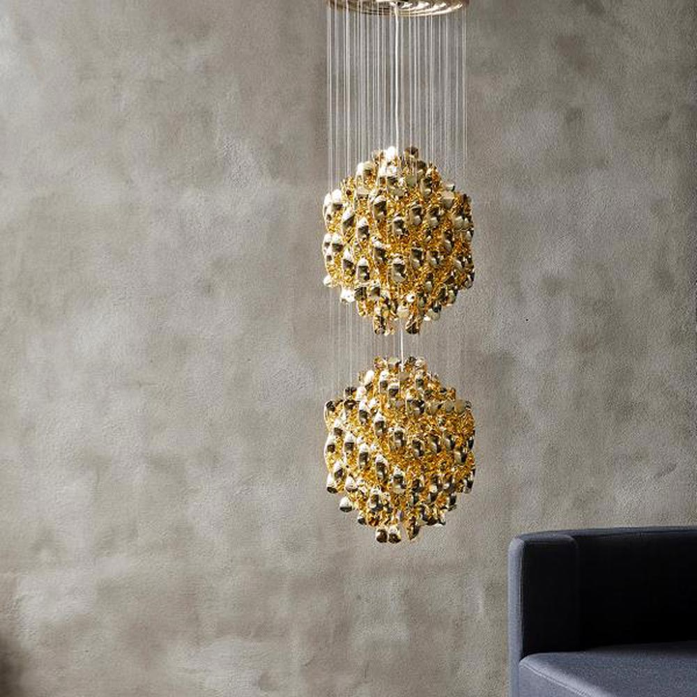 Spiral Sp2 Gold Pendant Lamp by Verpan