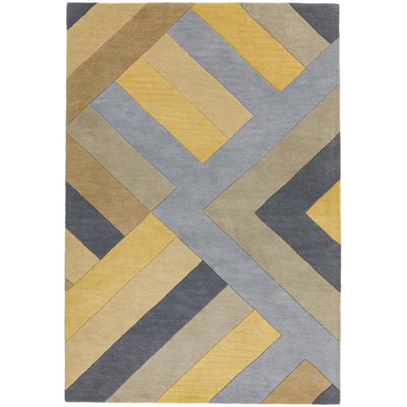 Reef Rf02 Big Zig Ochre Grey Rug by Attic Rugs