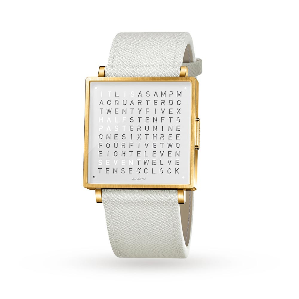 Qlocktwo 35Mm Gold White Wristwatch by Biegert and Funk