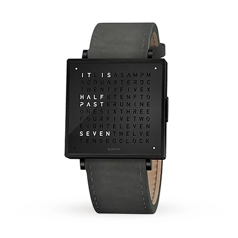 Qlocktwo 35Mm Leather Black Steel Wristwatch by Biegert and Funk