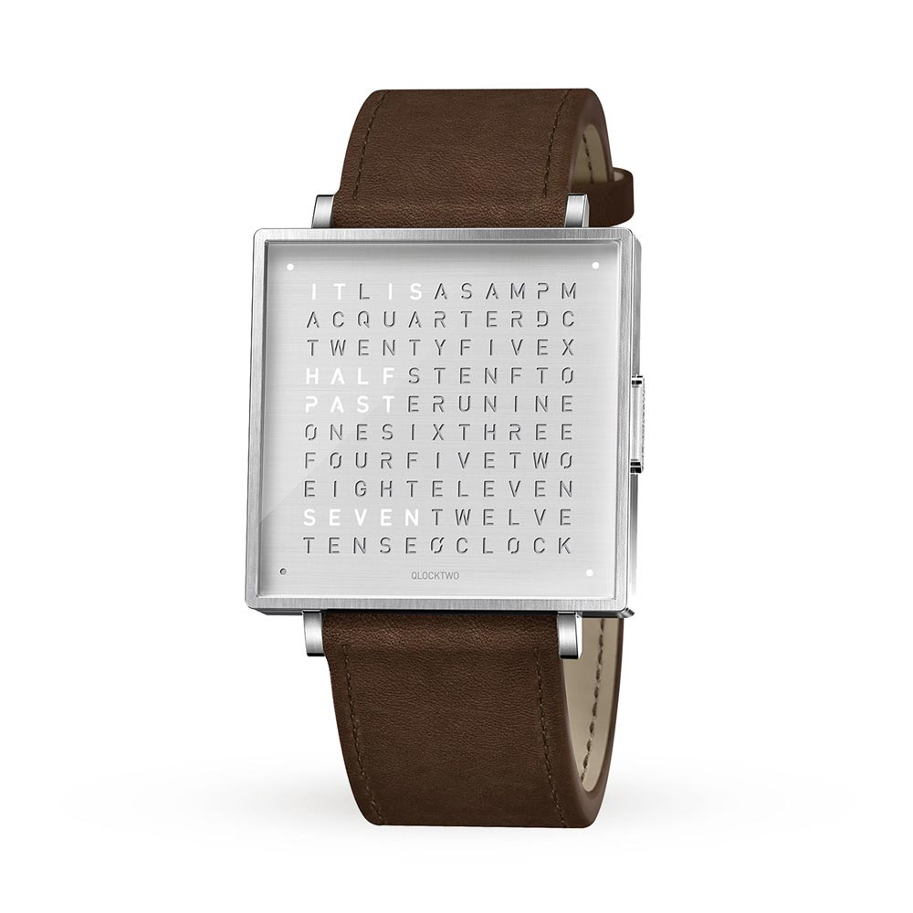 Qlocktwo 35Mm Leather Fine Steel Wristwatch by Biegert and Funk