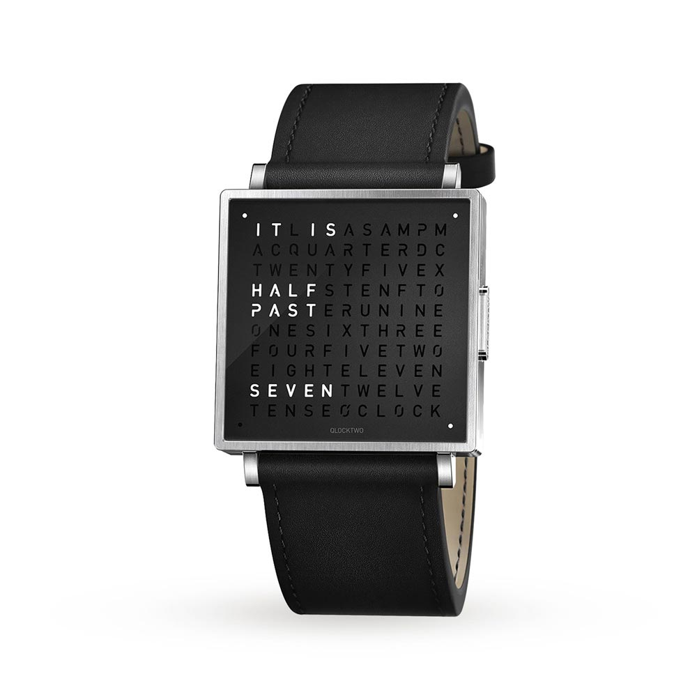Qlocktwo 35Mm Pure Black Wristwatch by Biegert and Funk