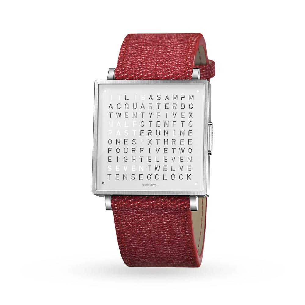 Qlocktwo 35Mm Pure White Red Wristwatch by Biegert and Funk