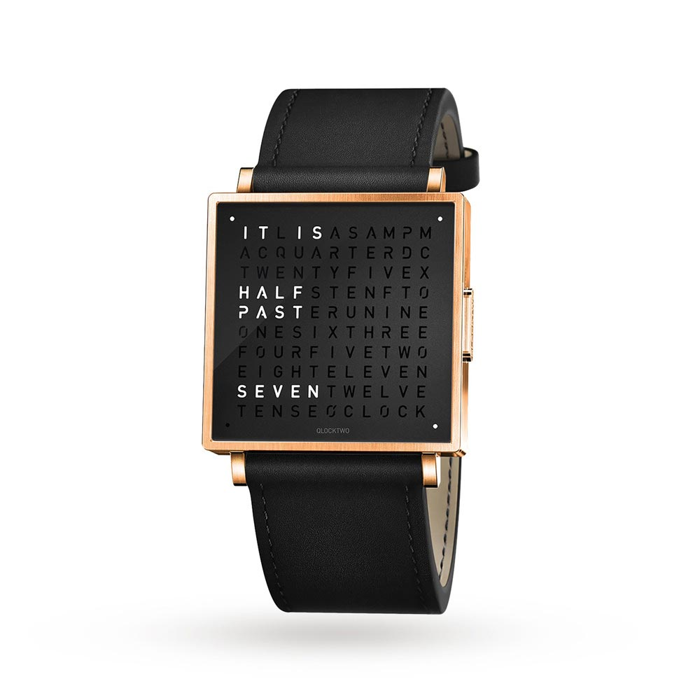 Qlocktwo 35Mm Rose Black Wristwatch by Biegert and Funk