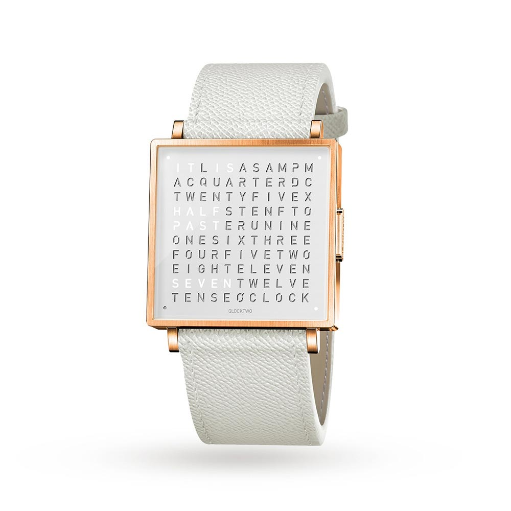 Qlocktwo 35Mm Rose White Wristwatch by Biegert and Funk