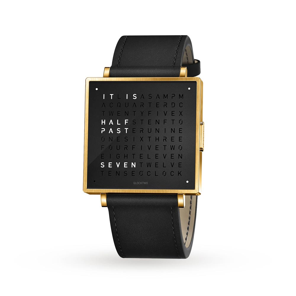 Qlocktwo 39Mm Gold Black Wristwatch by Biegert and Funk