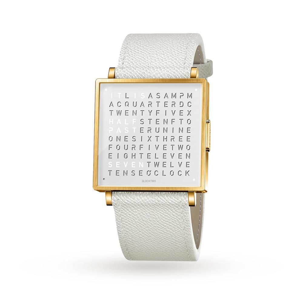 Qlocktwo 39Mm Gold White Wristwatch by Biegert and Funk