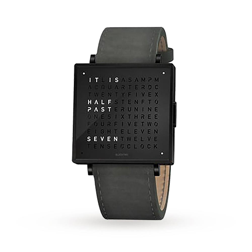 Qlocktwo 39Mm Leather Black Steel Wristwatch by Biegert and Funk
