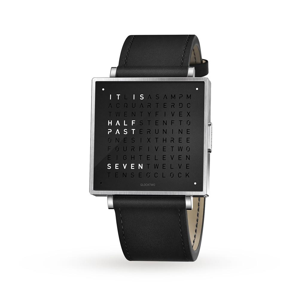 Qlocktwo 39Mm Pure Black Wristwatch by Biegert and Funk