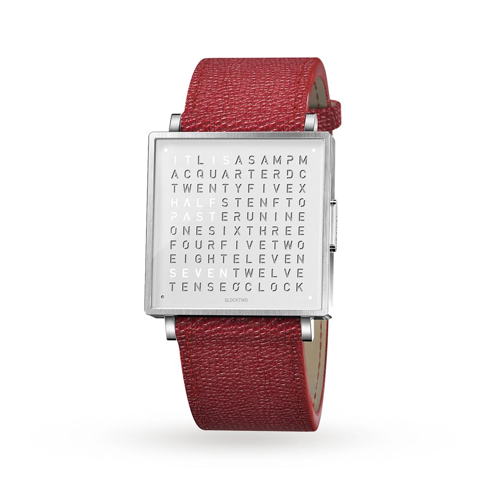 Qlocktwo 39Mm Pure White Red Wristwatch by Biegert and Funk