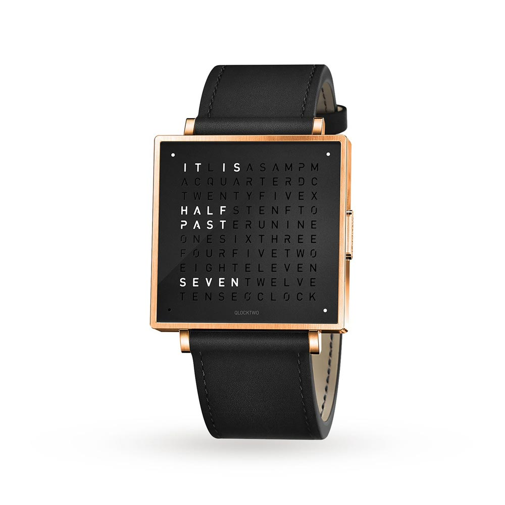 Qlocktwo 39Mm Rose Black Wristwatch by Biegert and Funk