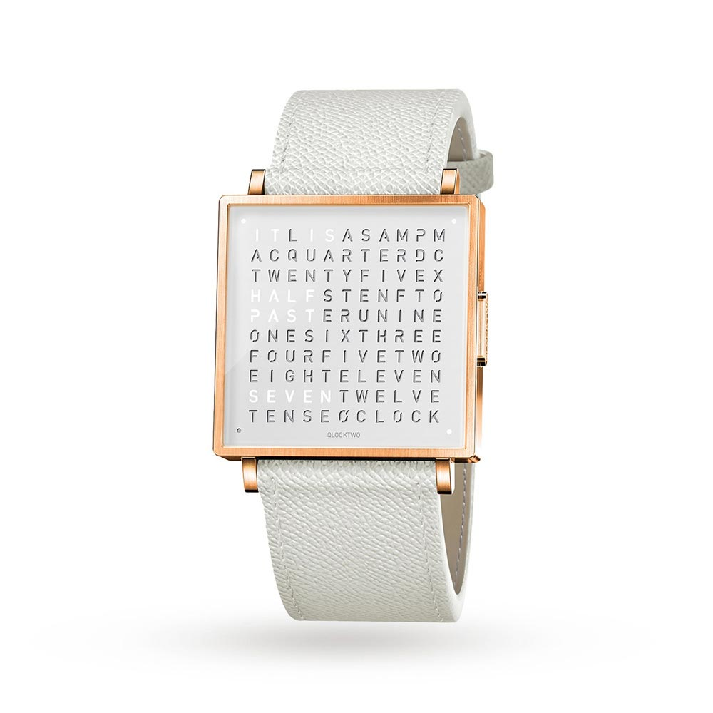 Qlocktwo 39Mm Rose White Wristwatch by Biegert and Funk