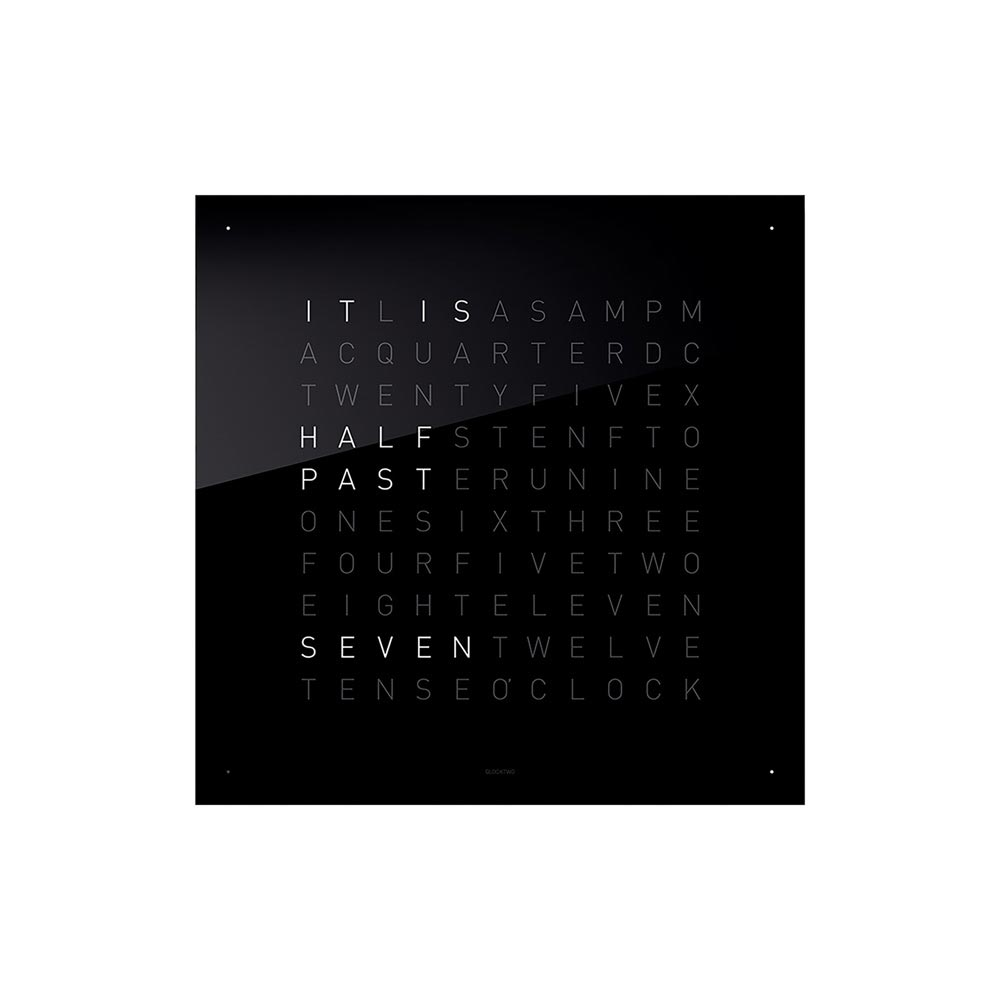 Qlocktwo Classic Acrylic Clock Black Ice Tea by Biegert and Funk