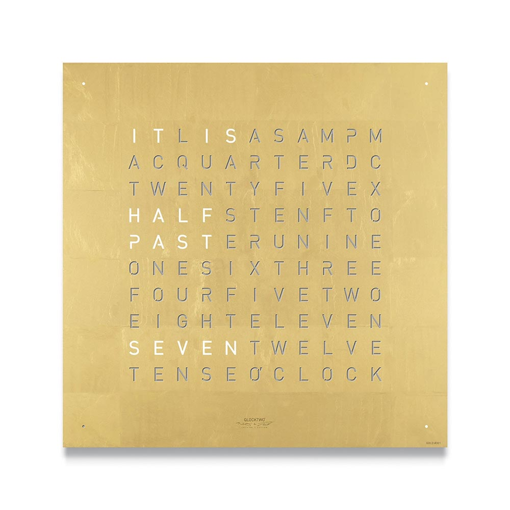 Qlocktwo Classic Creators Edition Clock Gold by Biegert and Funk