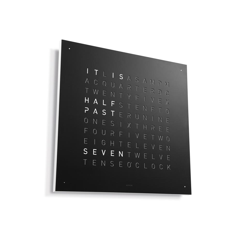 Qlocktwo Classic Steel Powder Coated Clock Black Pepper by Biegert and Funk