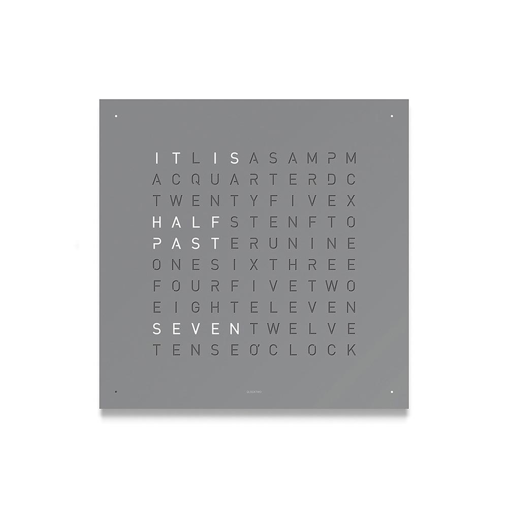 Qlocktwo Classic Steel Powder Coated Clock Grey Pepper by Biegert and Funk