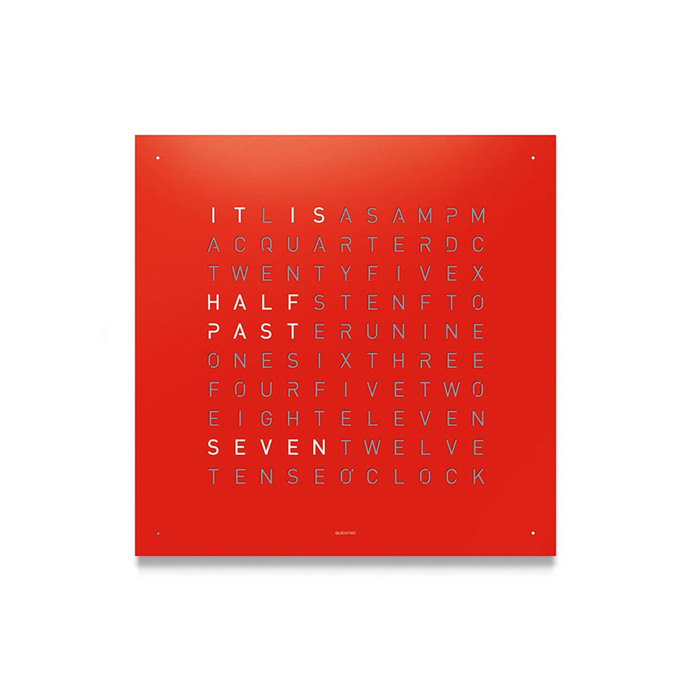 Qlocktwo Classic Steel Powder Coated Clock Red Pepper by Biegert and Funk