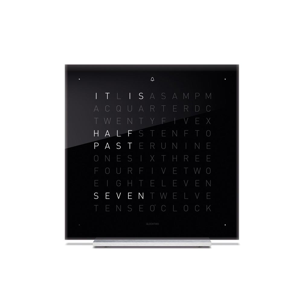 Qlocktwo Touch Acrylic Table Clock Black Ice Tea by Biegert and Funk