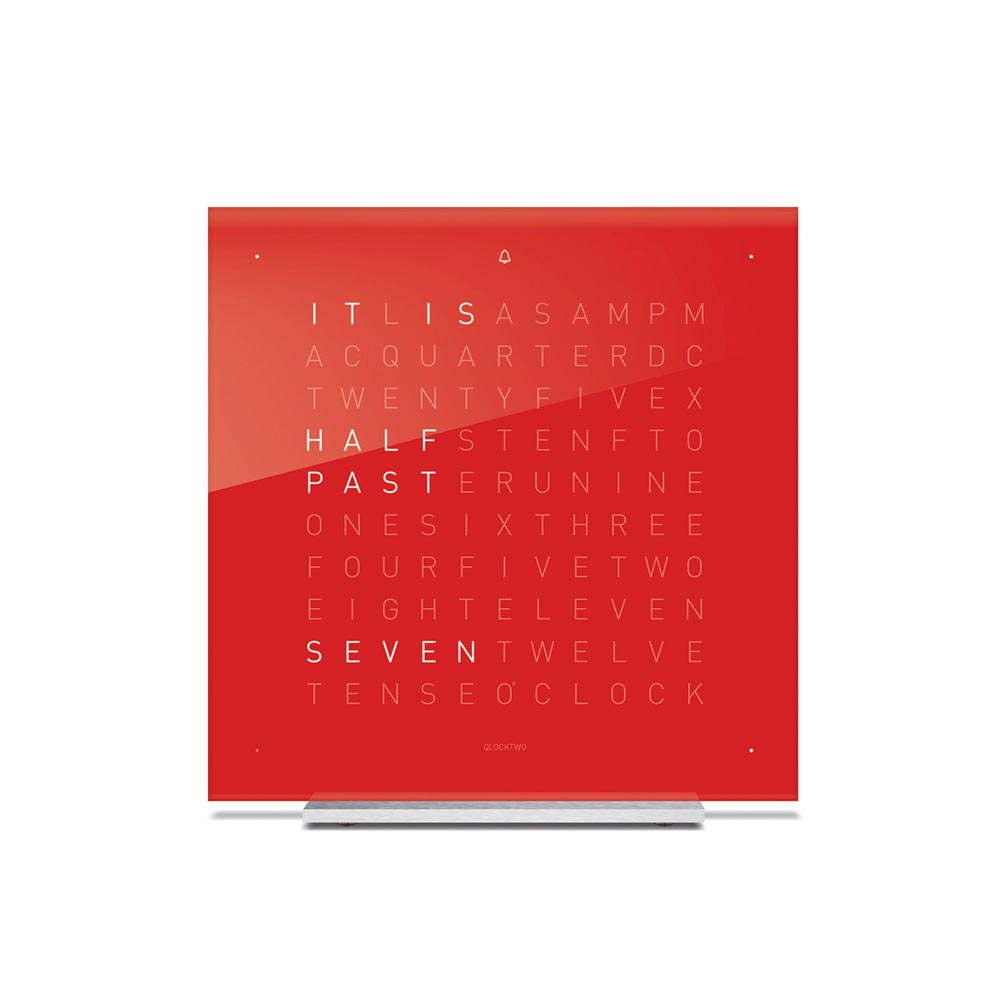 Qlocktwo Touch Acrylic Table Clock Cherry Cake by Biegert and Funk