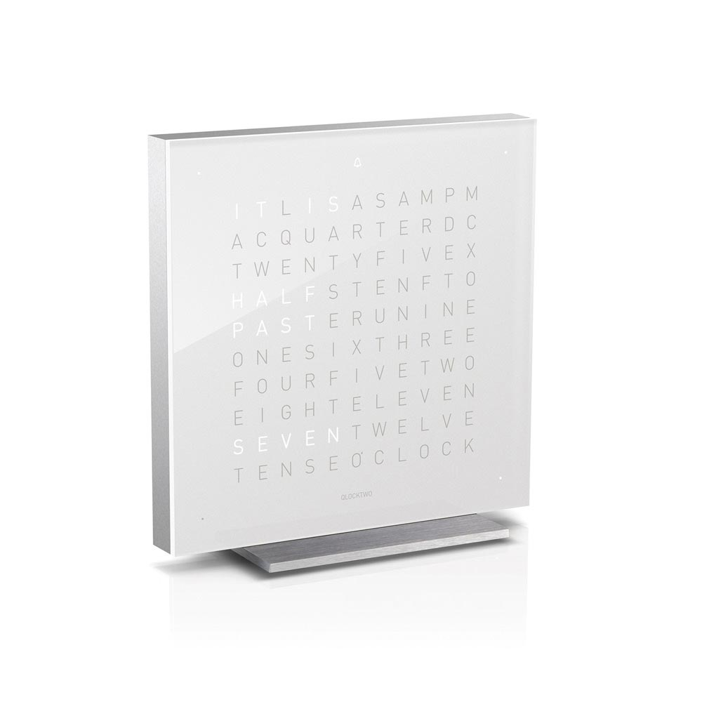 Qlocktwo Touch Acrylic Table Clock Vanilla Sugar by Biegert and Funk