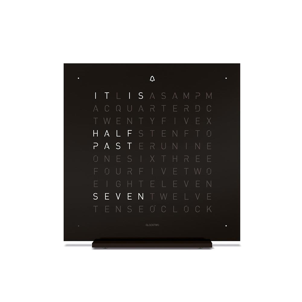 Qlocktwo Touch Metal Table Clock Deep Black by Biegert and Funk