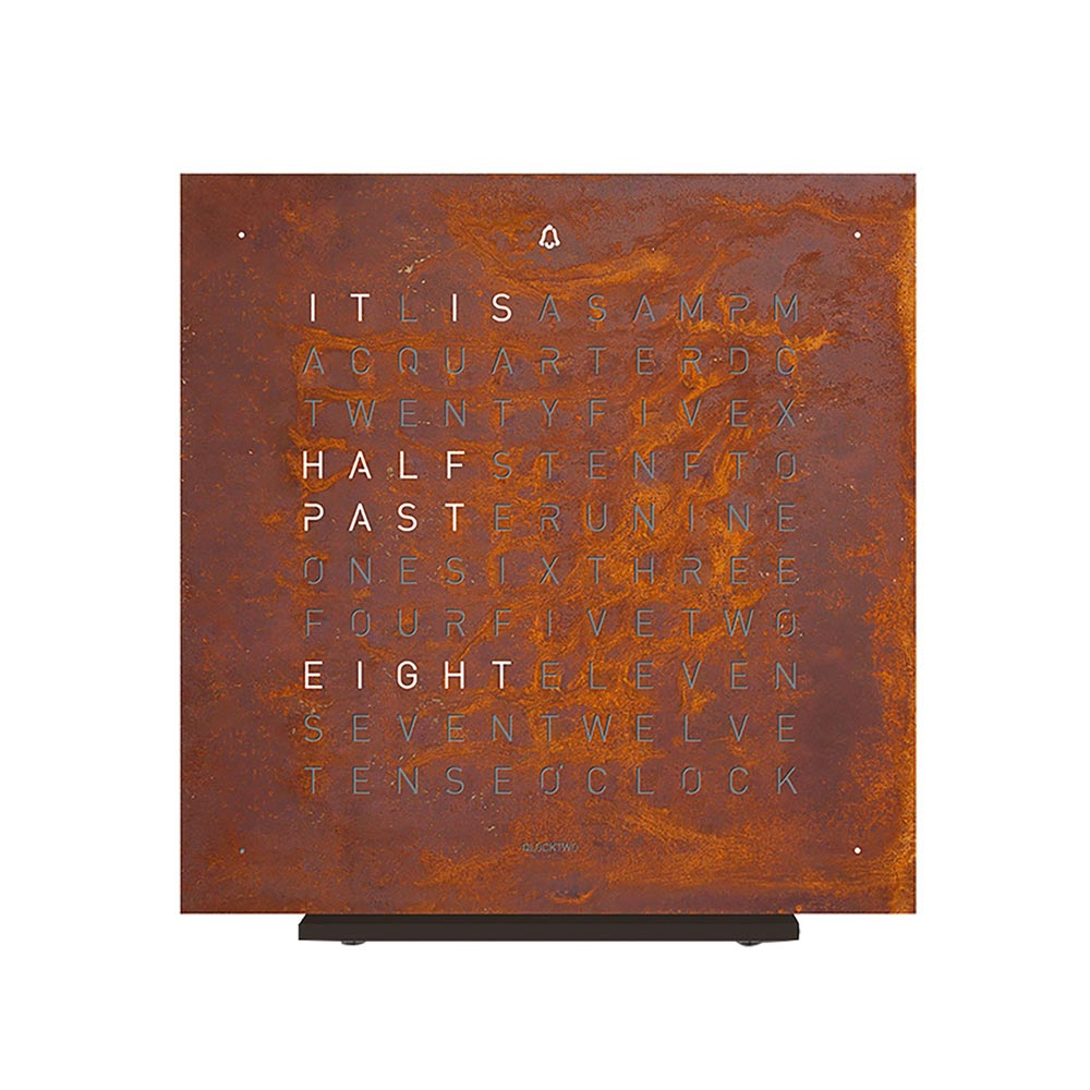 Qlocktwo Touch Metal Table Clock Rust by Biegert and Funk
