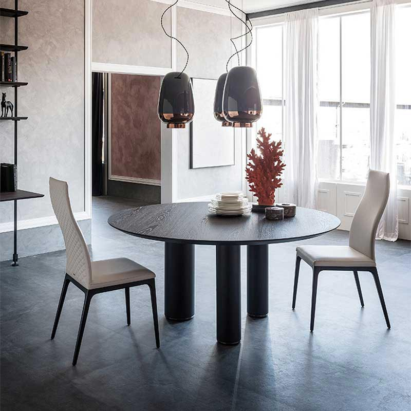 Roll Wood Round Fixed Table by Cattelan Italia