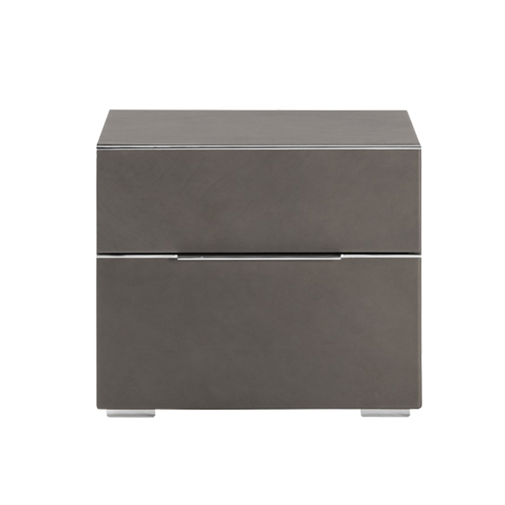 Sqaure New Double Drawer Bedside Table by Cierre