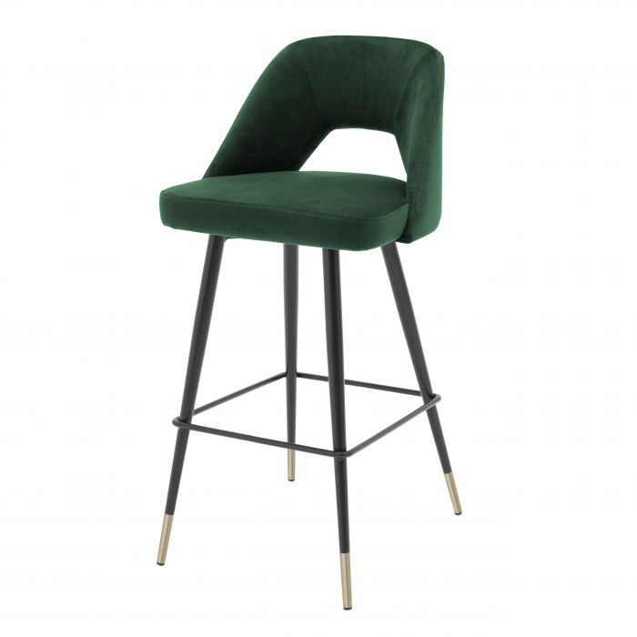 Avorio Green Velvet Bar Stool by Eichholtz