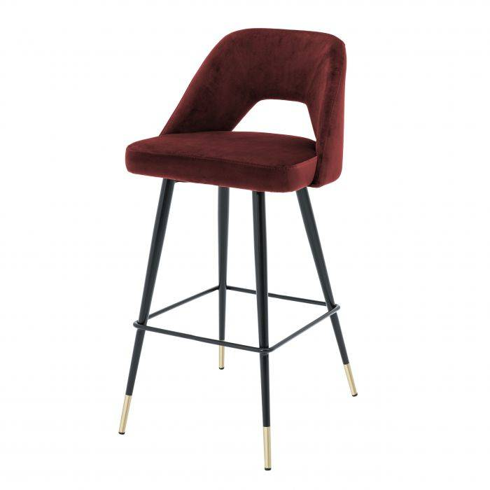 Avorio Roche Bordeaux Velvet Bar Stool by Eichholtz
