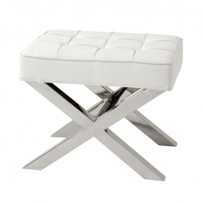 Beekman Place White Leather Look Footstool by Eichholtz