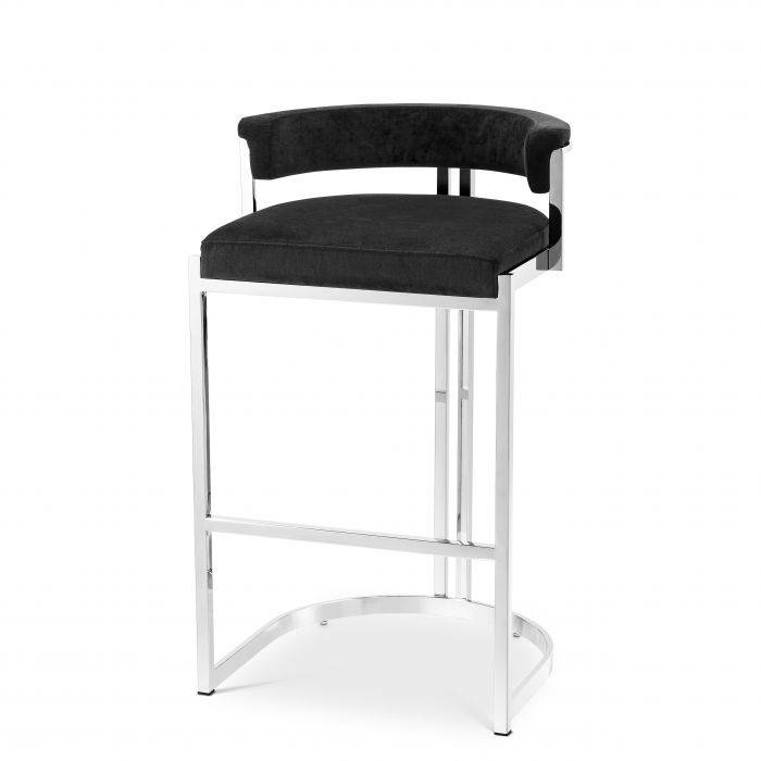 Dante Black Velvet Bar Stool by Eichholtz