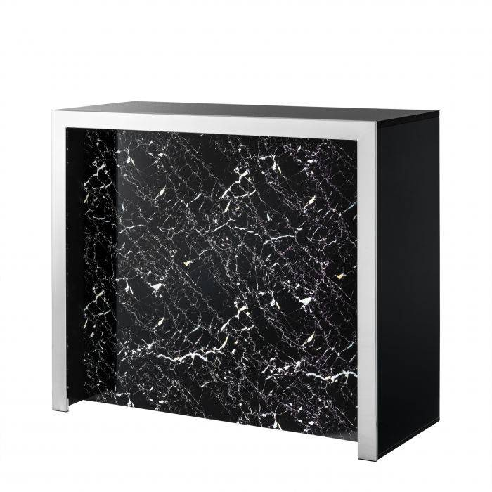 Grimaldi Black Faux Marble Drinks Cabinet by Eichholtz