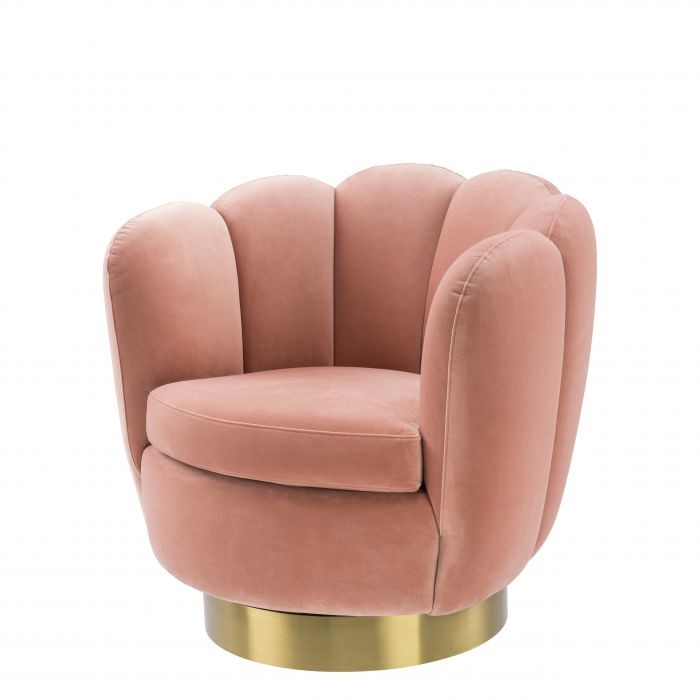 Mirage Nude Velvet Swivel Chair by Eichholtz