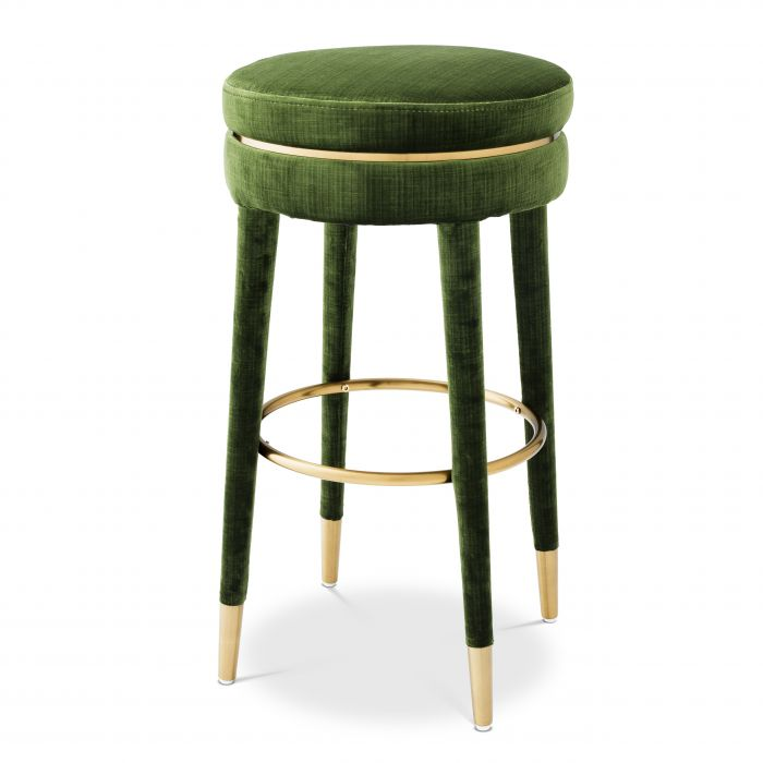 Parisian Catania Green Velvet Bar Stool by Eichholtz