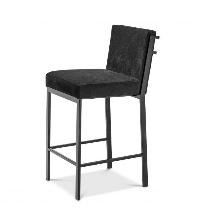 Scott Bronze Finish Black Velvet Bar Stool by Eichholtz
