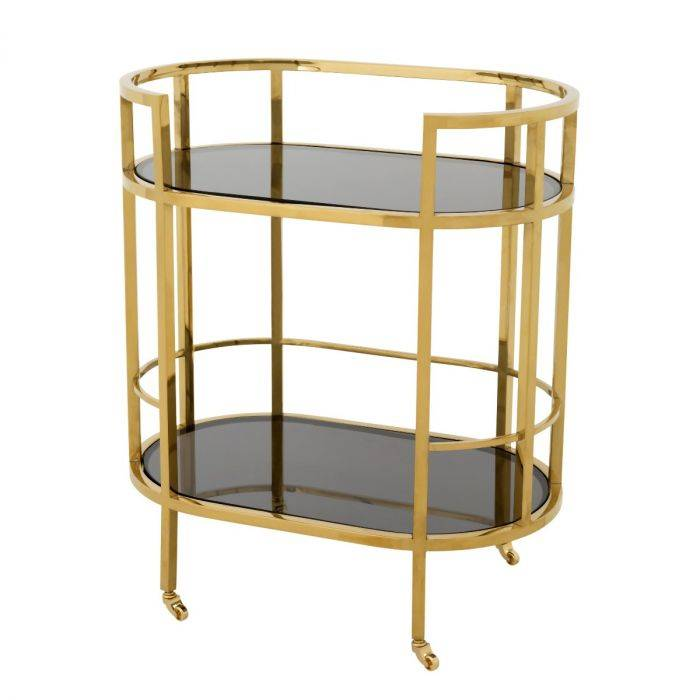 Townhouse Gold Finish Bar Trolley by Eichholtz