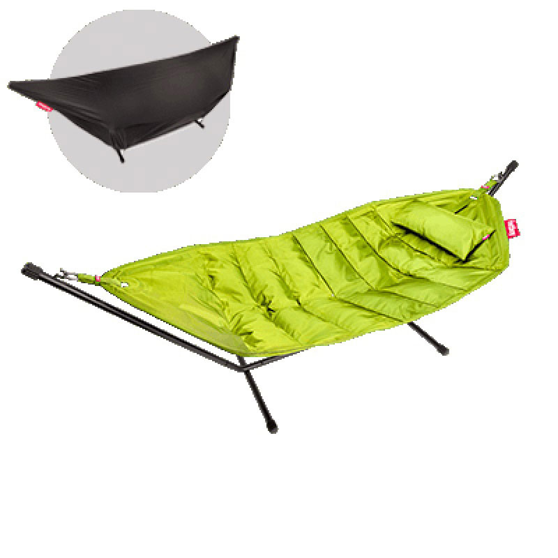 Headdemock Deluxe Hammock With Frame Pillow And Cover Lime Green by Fatboy