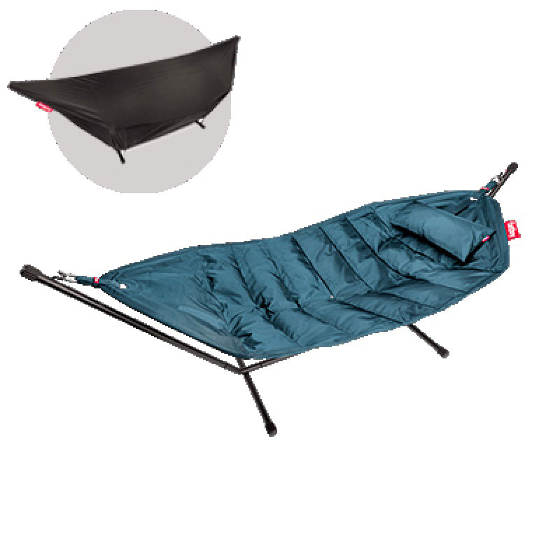 Headdemock Deluxe Hammock With Frame Pillow And Cover Petrol by Fatboy