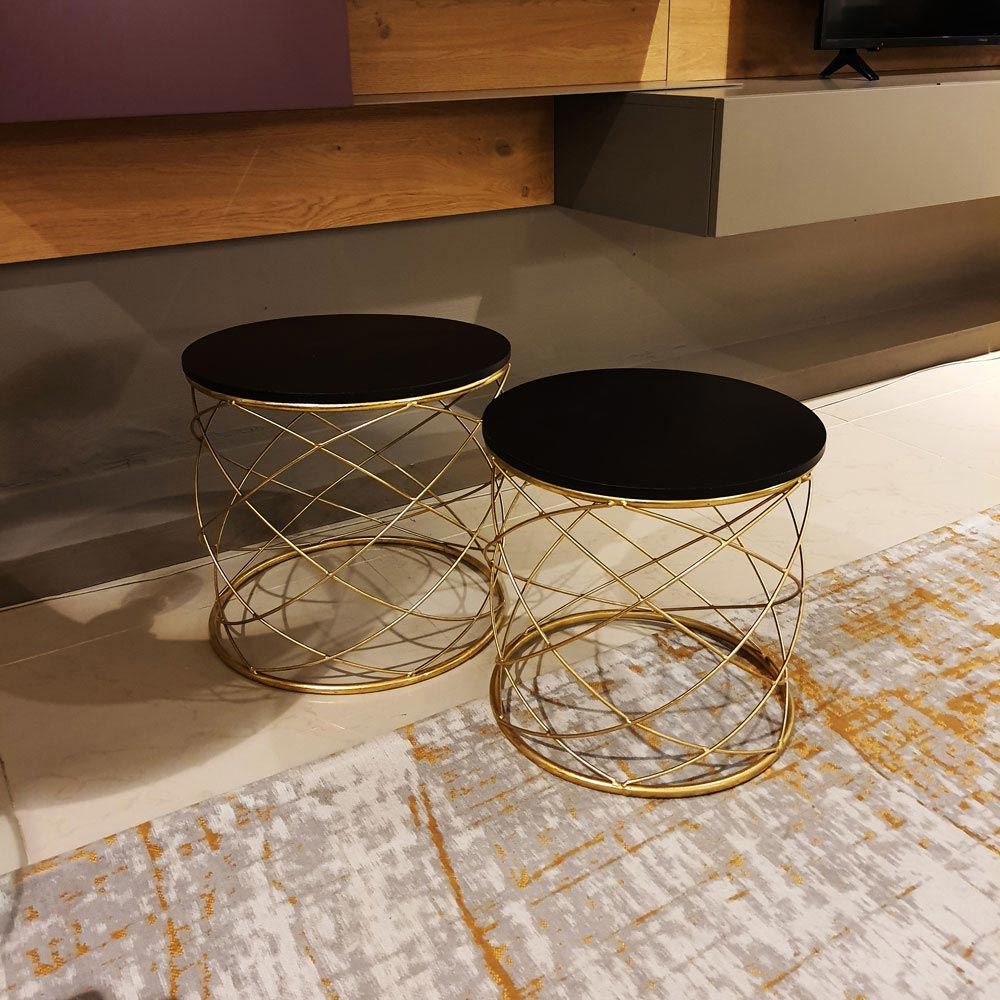 Set of 2 Wire Black Coffee Tables by Kare Design | FCI Clearance