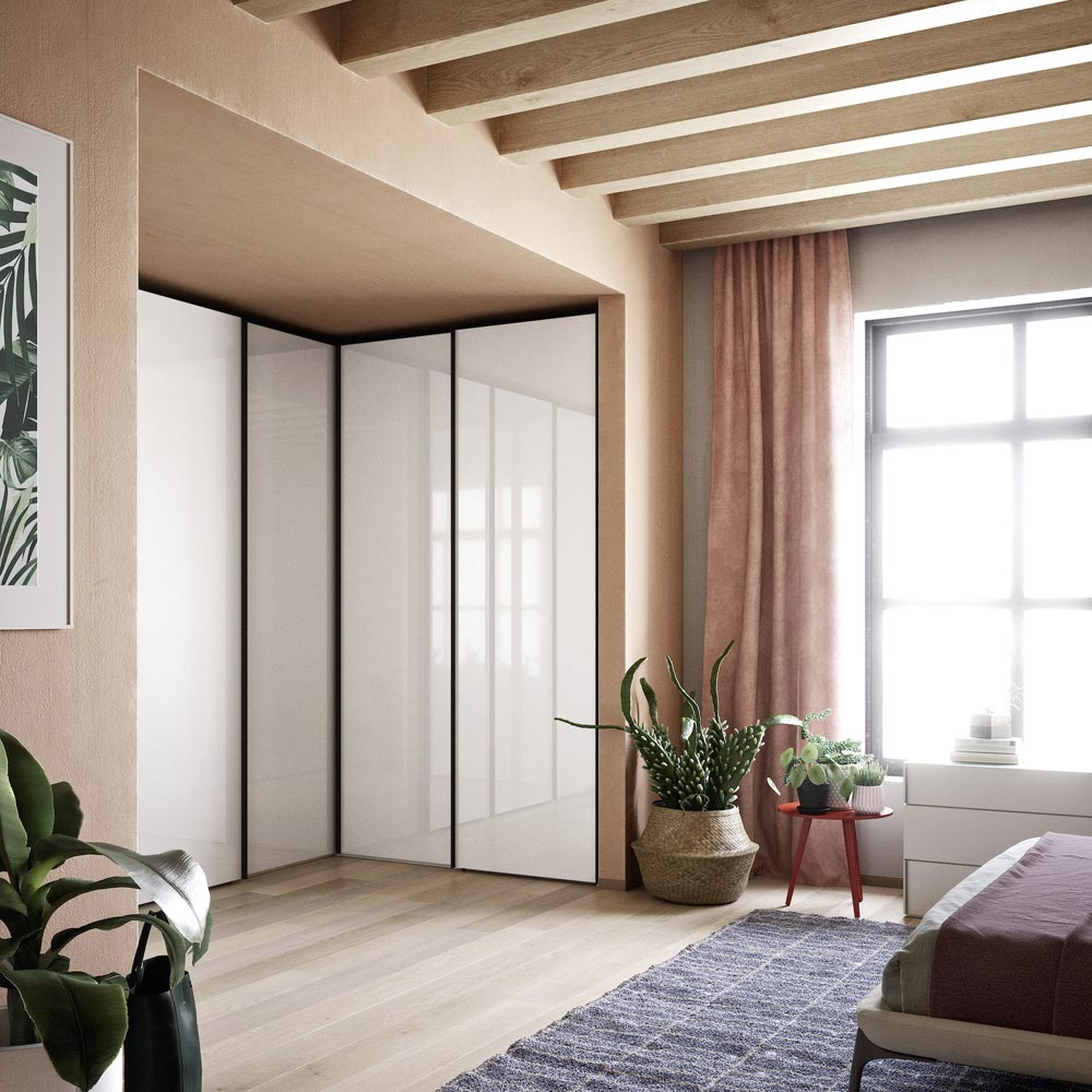 Crystal Sliding Door Wardrobe by Novamobili