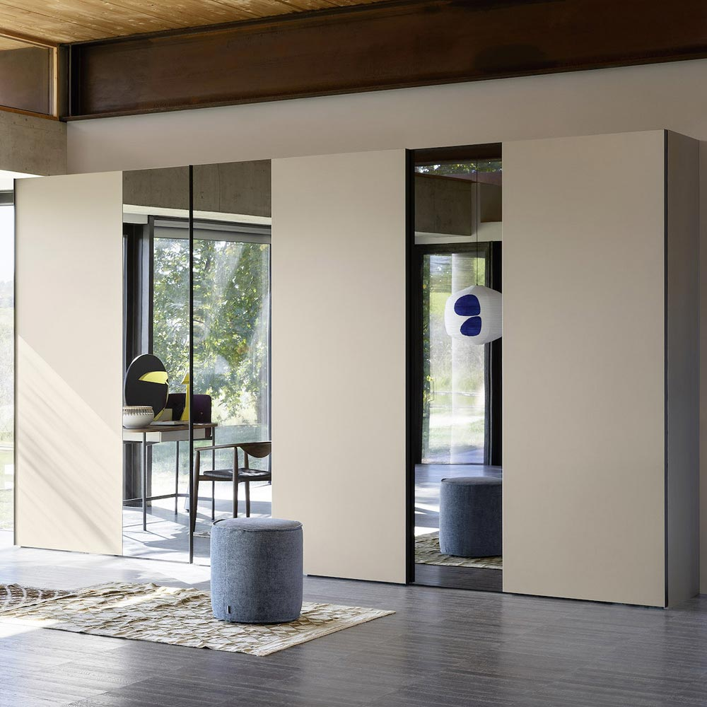 Offset Sliding Door Wardrobe by Novamobili
