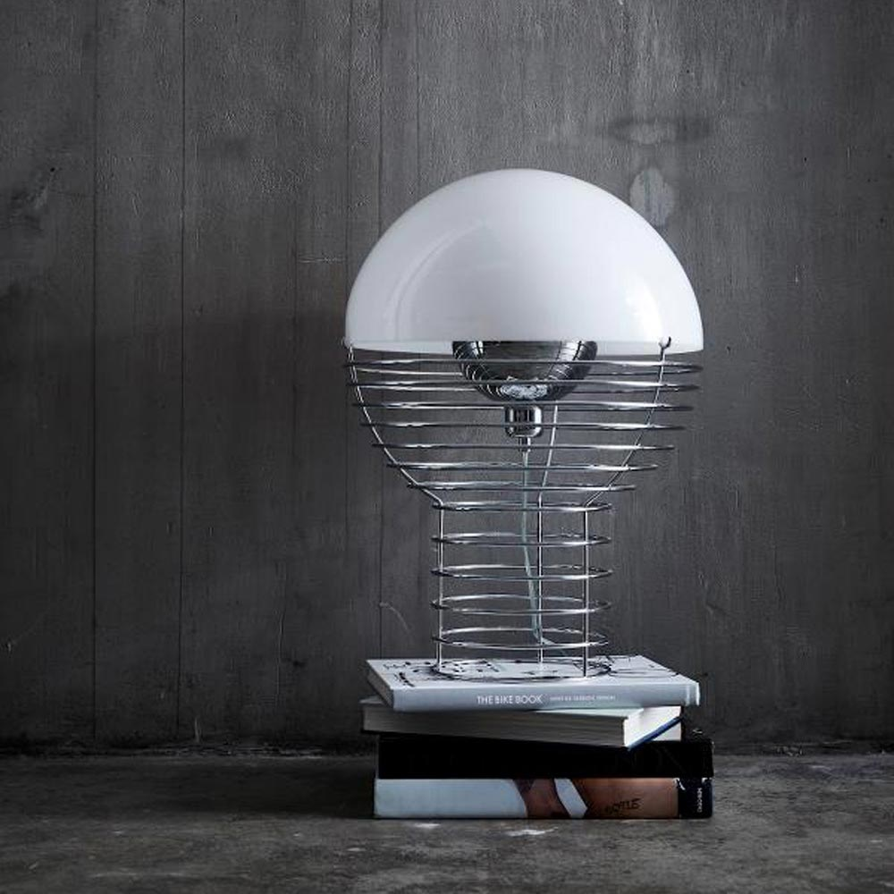 Wire White Table Lamp by Verpan